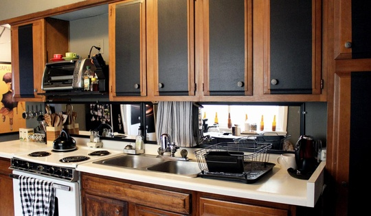 stripes on cabinets done with black leather look contact paper with how easily contact paper is removed now without residue it was a great choic. beautiful ideas. Home Design Ideas