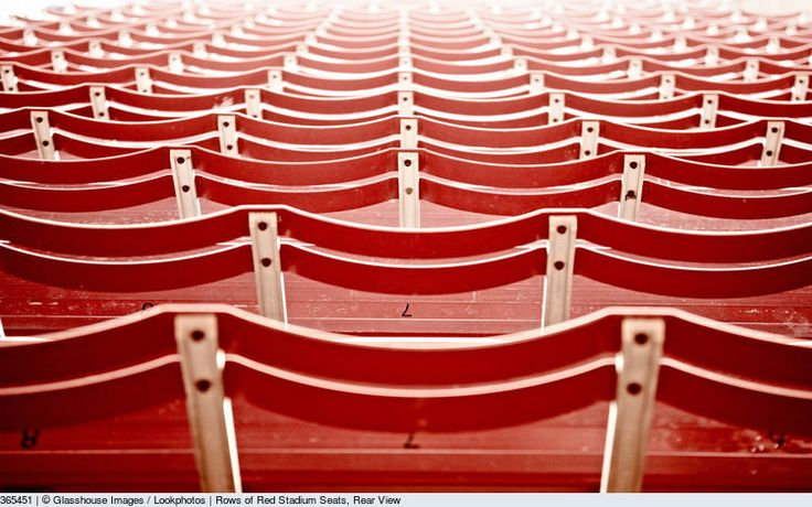 Rows of Red Stadium Seats, Rear View