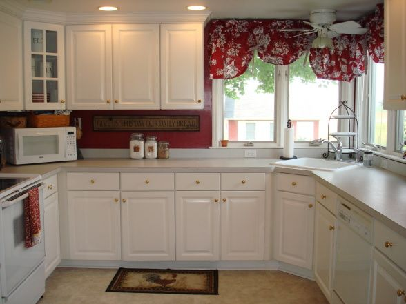 Red Country Kitchen - new window treatments, Kitchens Design