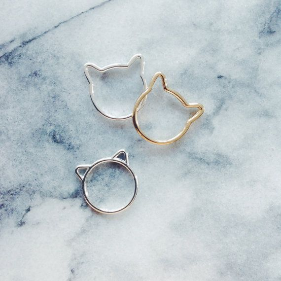 Gold Cat Ears Ring Cat Jewelry Gold Ring by ExperimentalJewels