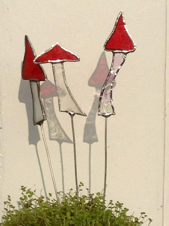 Pote de flor de sol Catcher vidrieras de las estacas. Conjunto
