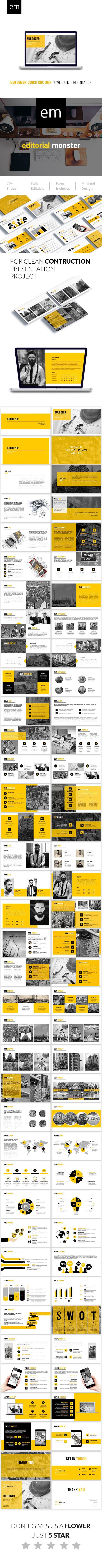 Buldozer Construction Powerpoint Presentation Template - 70+ Unique Creative Slides