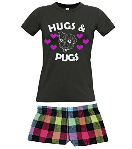 Black Women's T-Shirt & Neon Shorts Pyjama Set 'HUGS & PUGS'