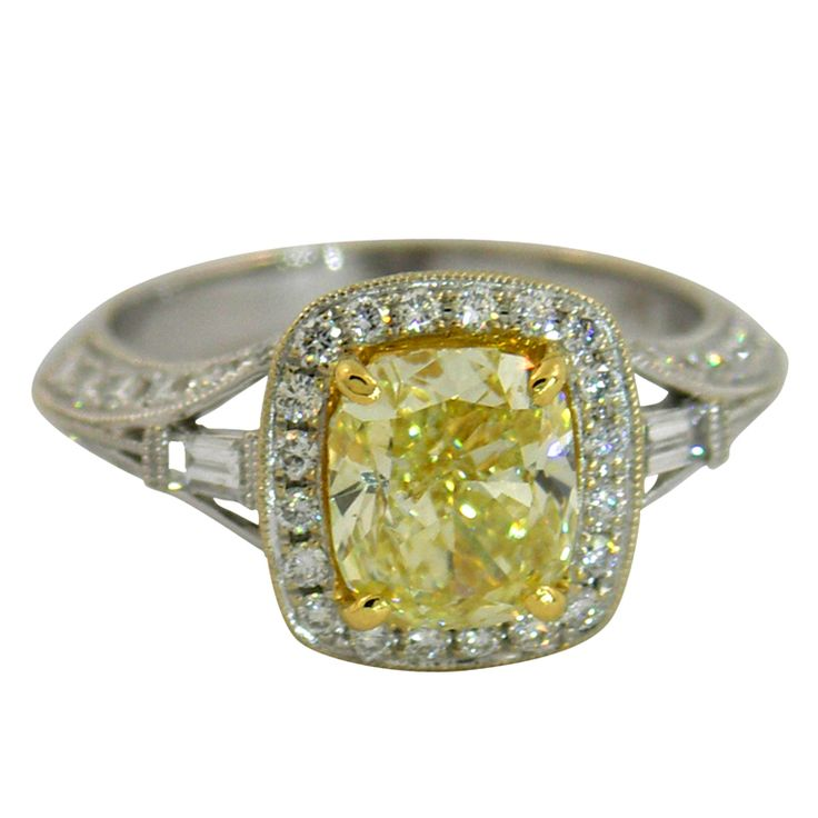 A Dazzling Canary Diamond Ring | From a unique collection of vintage solitaire rings at https://www.1stdibs.com/jewelry/rings/solitaire-rings/