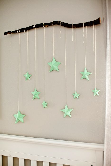 Cool Diy Wall Art Ideas : Chic diy wall art ideas star mobile colored paper and