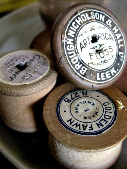 Vintage wooden cotton reels #vintagesewing