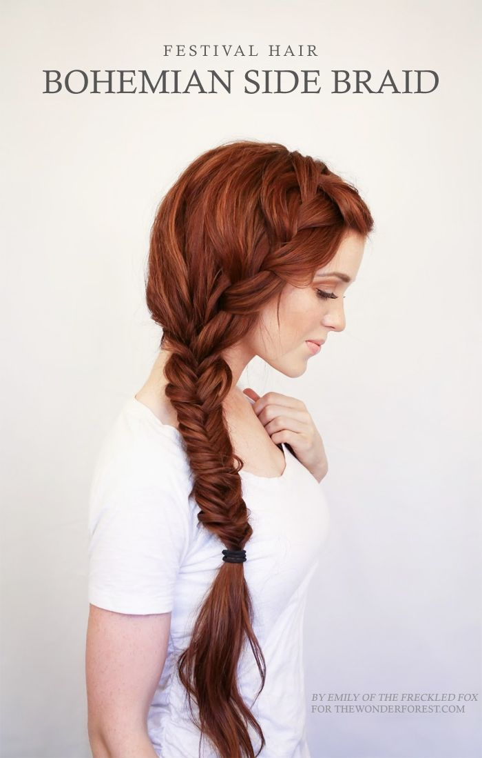 Romantic Bohemian Side Braid Tutorial.