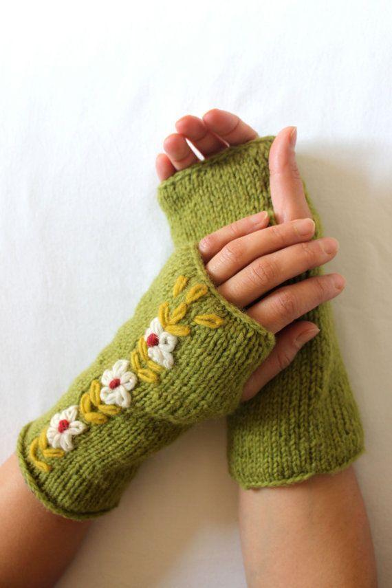 Knitted Fleece Lined 100% Wool Fingerless Mittens Gloves ...