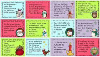 Grundschule Weihnachten: Adventskalendergutscheine