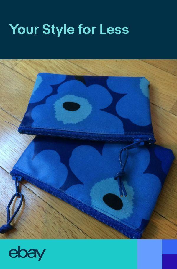 Handmade Blue Mini Unikko OIL CLOTH fabric 4×3 coi…