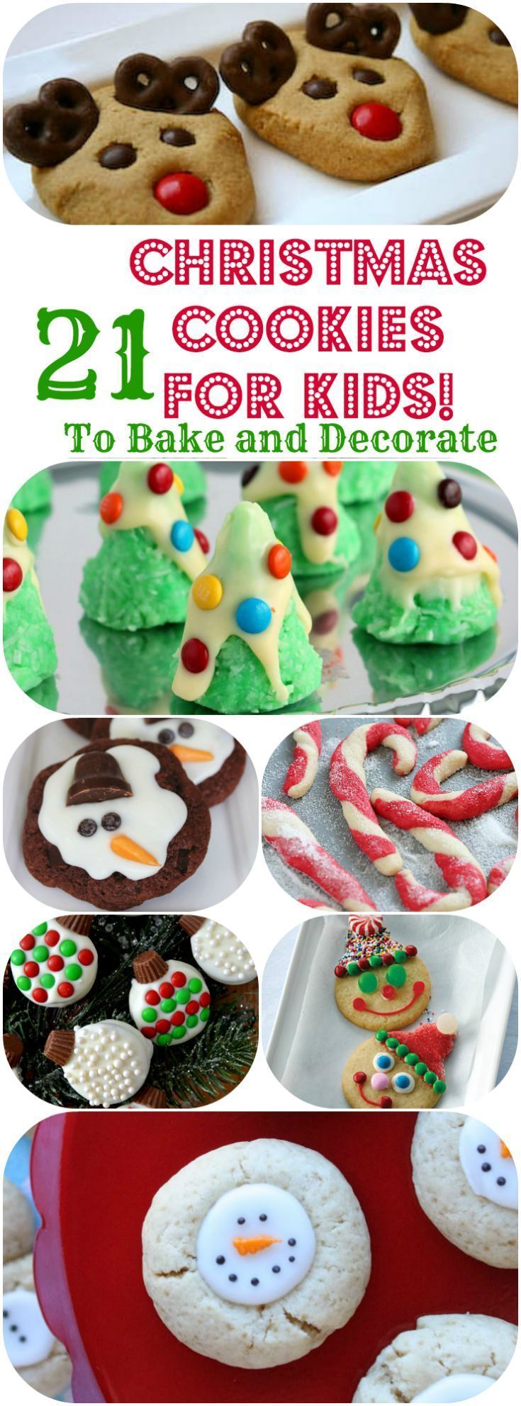 Easy Christmas Cookie recipes for Kids to Bake or Decorate! Perfect for Christmas Gifts, Cookie Exchanges, and Cookies for Santa on Christmas Eve!