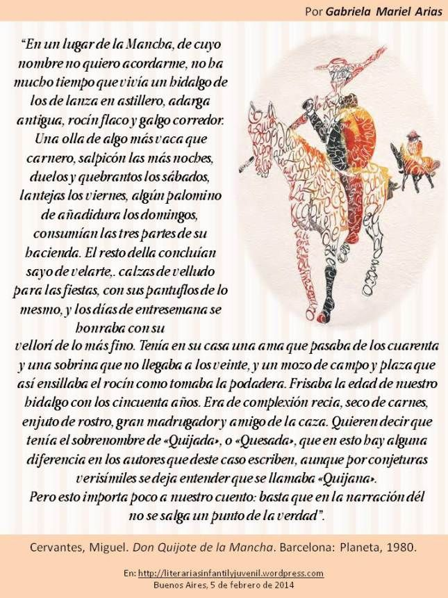 Palabras de novela: DON QUIJOTE DE LA MANCHA de Cervantes. Por Gabriela Mariel Arias.