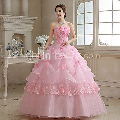 Ball Gown / Princess Wedding Dress Wedding Dresses in Color Floor-length Strapless Organza with Appliques / Pearl / Flower - USD $69.99