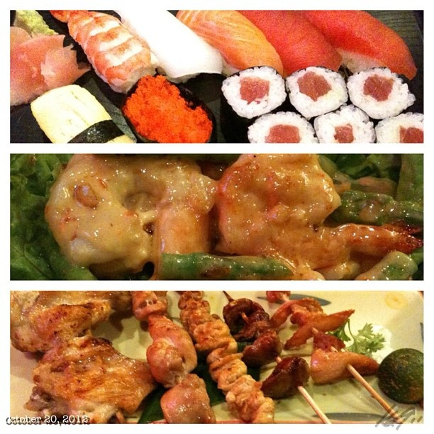 #寿司 ミックス、 #焼き鳥 ミックス、#エビマヨ #sushi#ebimayo#yakitori#dinner at #japanese #restaurant #dinner #food #beer #sanmig #light #philippines #フィリピン