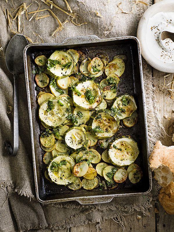 Marrow, potato and shallot bake with smashed garlic and soft herbs