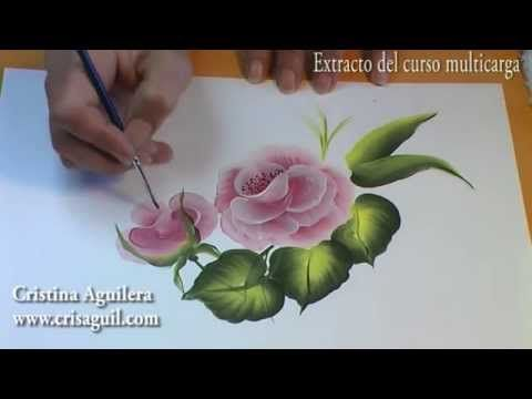 Como pintar en acrílico con técnica americana - Cuadro de rosas vintage - YouTube