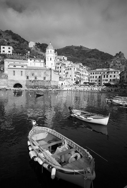 Cinque Terre, Italy, in black and white