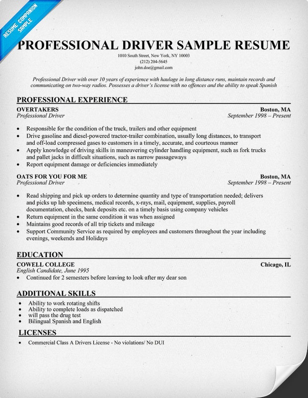 company driver resume sample