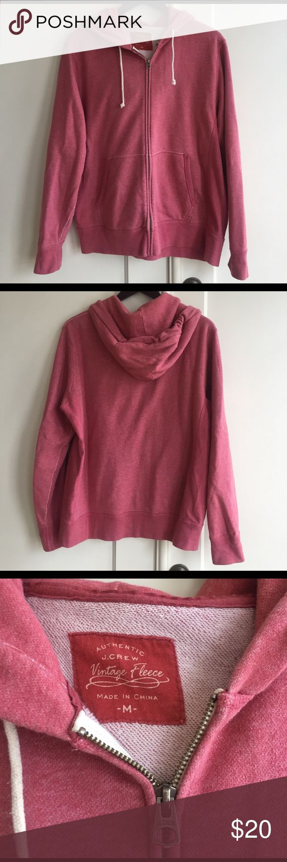 Jcrew faded red men's zip up hoodie M Faded red soft zip up hoodie!  Men's medium but a few ladies have gone for this hoodie when visiting SF and not packing the right layers!! 🤗 J. Crew Tops Sweatshirts & Hoodies