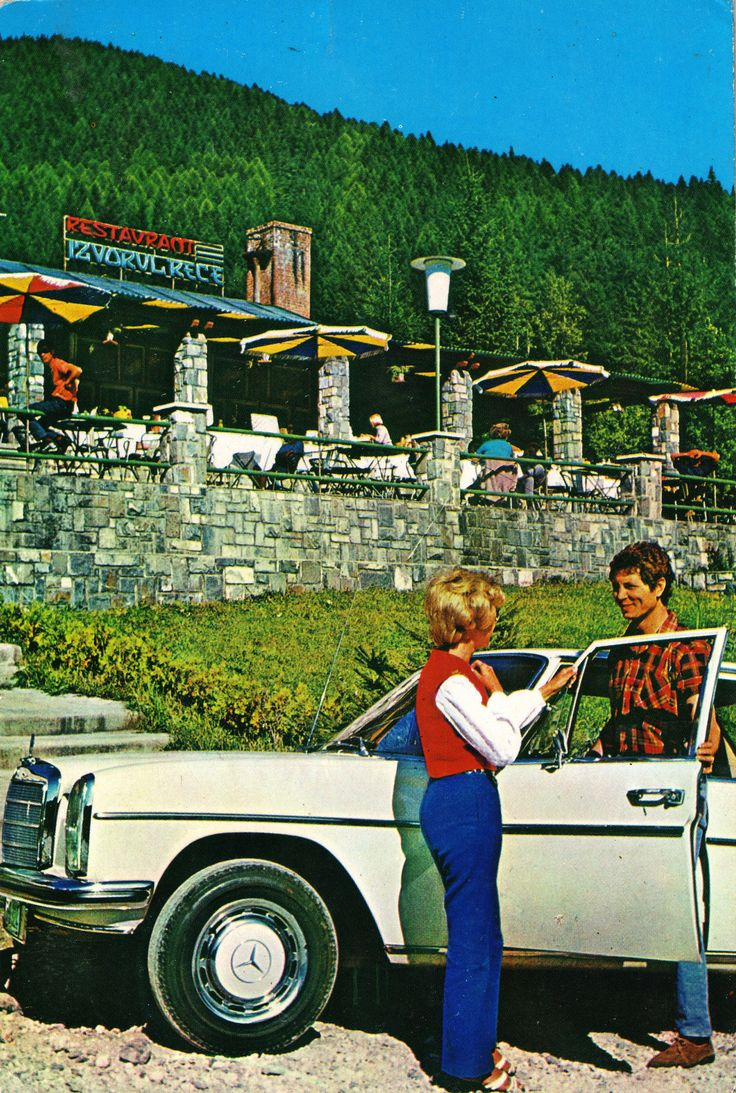 "Romania - Sinaia [004] - 1974 - front | RetROmania #89  1974 postcard from Romania, Sinaia, featuring a beautiful MERCEDES-BENZ W114/115 ""Strich-Acht"""