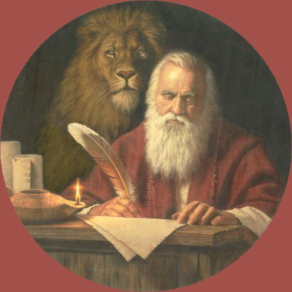 "April 25: St Mark the Evangelist, a cousin of Barnabas, accompanied St. Paul on his first missionary journey and later went with him to Rome. He was a disciple of St. Peter whose teaching was the basis for Mark's gospel... He is represented as a lion because of the words at the beginning of Mark's gospel ""A voice of one crying out in the desert"" (Mark 1:3a).. The lion also has symbolized Christ, the Resurrection, courage, fortitude, and kingliness."
