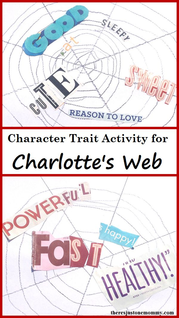 Charlotte's Web activity -- explore character traits with this spider web craft for Charlotte's Web