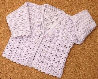 Babies to 6 years Cardigan. Easy crochet.Very pretty when being worn.