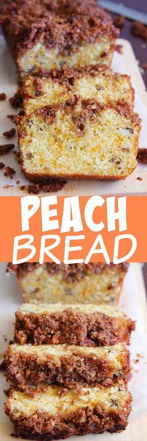 Peach Bread with a Crunchy Streusel Topping - mashed peaches help give this bread a great texture and flavor.