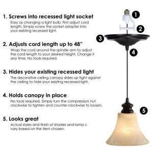 Worth Home Products Instant Pendant Series 1-Light Brushed Bronze Recessed Light Conversion Kit  sc 1 st  Pinterest & Best 25+ Recessed light conversion kit ideas on Pinterest | Screw ... azcodes.com
