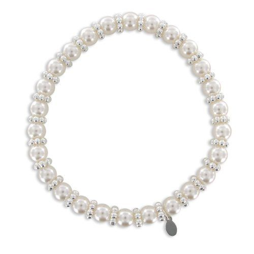Cream Simulated Pearl and Silver Plated Rondell Bead Stretch Bracelet Amazon Curated Collection. $6.00. Stretch design expands to fit comfortably around your wrist. Made in China. This pearl bracelet will never go out of style.. Save 57% Off!