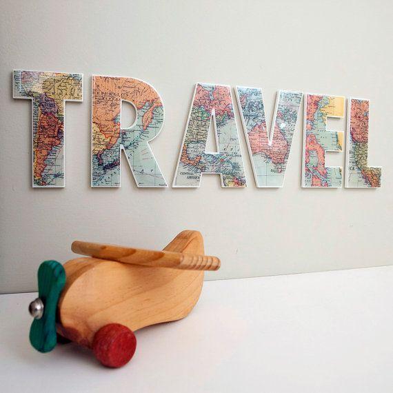 .Ideas, Maps Letters, Decor Letters, Travel Decor, Travel Wall, Diy, Letter Wall, Crafts, Letters Wall