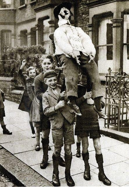 London in the 1920's-penny for the guy by Warsaw1948, via Flickr, Bonfire Night or Guy Fawkes night was a big thing for British children, I can remember making a guy every year sitting outside the train station with friends asking 'penny for the Guy' the money you made would be spent on fireworks or pop which I  wasn't allowed only at Christmas, how times have changed!