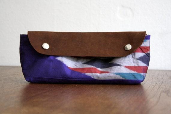 Arrows Jajou Clutch.  Vintage Silk Kimono & Leather.