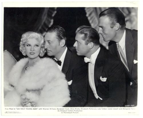 Mae West, John Gilbert, Warren William and  Randolph Scott in 1936