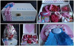 Kraamcadeau: Houten doos met naam, datum en kleine cadeautjes
