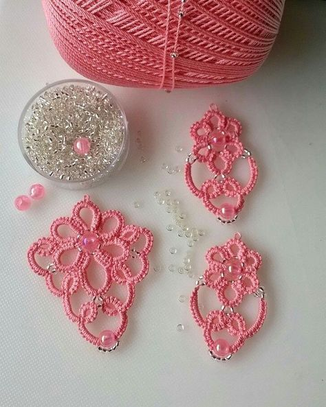 Tatting Earrings Jewelry Crochet Embroidery Needle Lace Tutorial Irlandés Thread