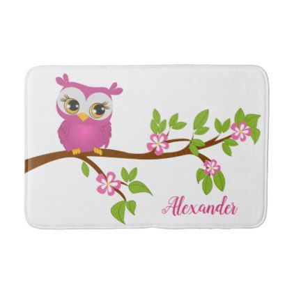 Cute Owl Pink on a Branch Bath Mat - baby gifts child new born gift idea diy cyo special unique design