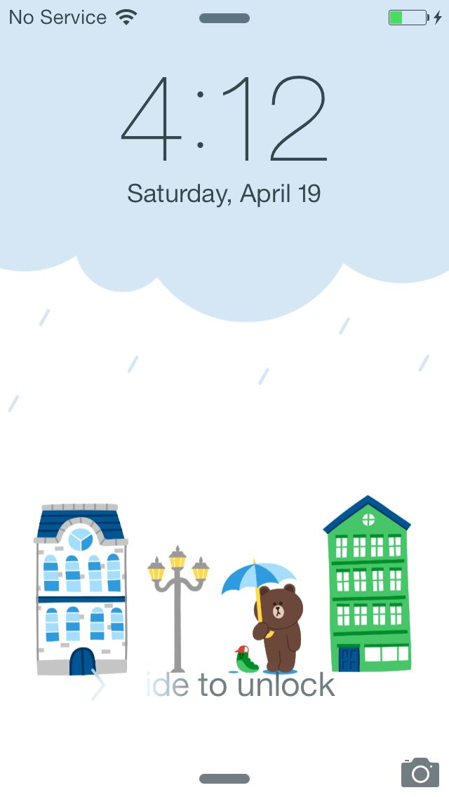 LINE DECO PACK On a rainy day Brown and Edward in rainy LINE town! ★ In this screen ★ Lock screen :Brown and Edward holding an umbrella