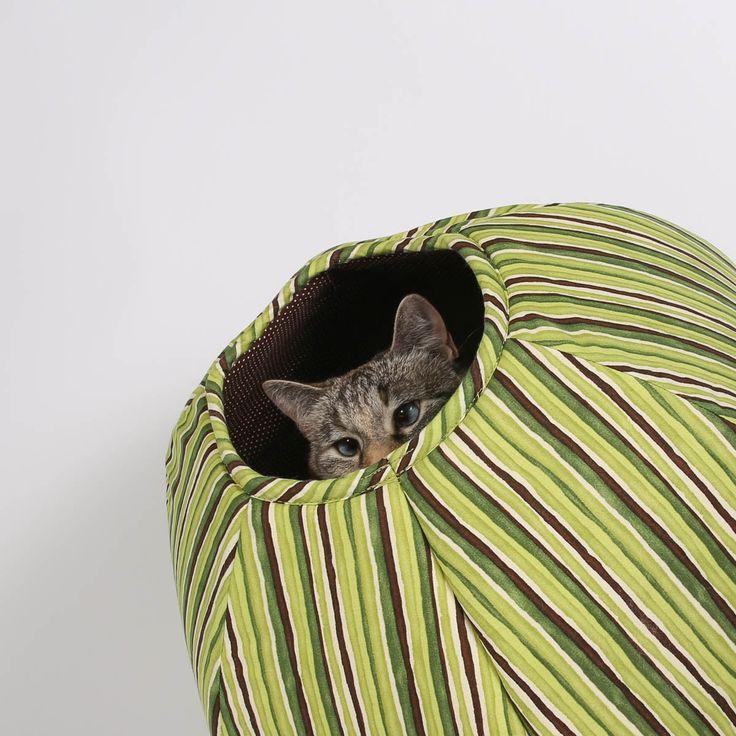Cat Ball modern cat bed in green stripes