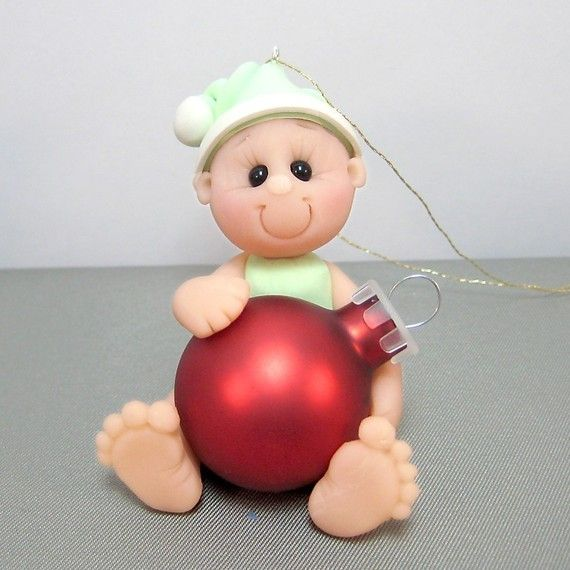 Babys First Christmas Polymer Clay Ornament by clayinaround, $18.00