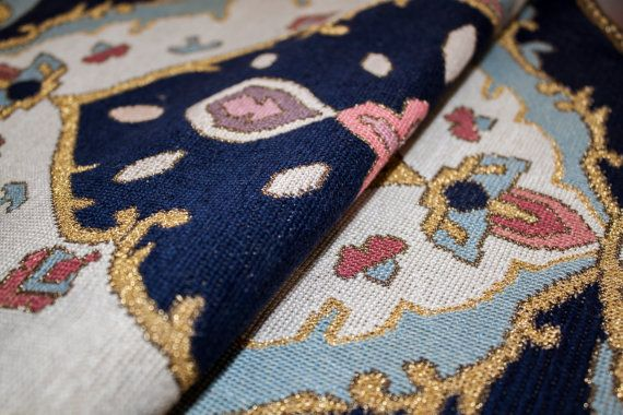 Coffe Table Cover Cross-Stitch Beige & Blue by TangerineTown
