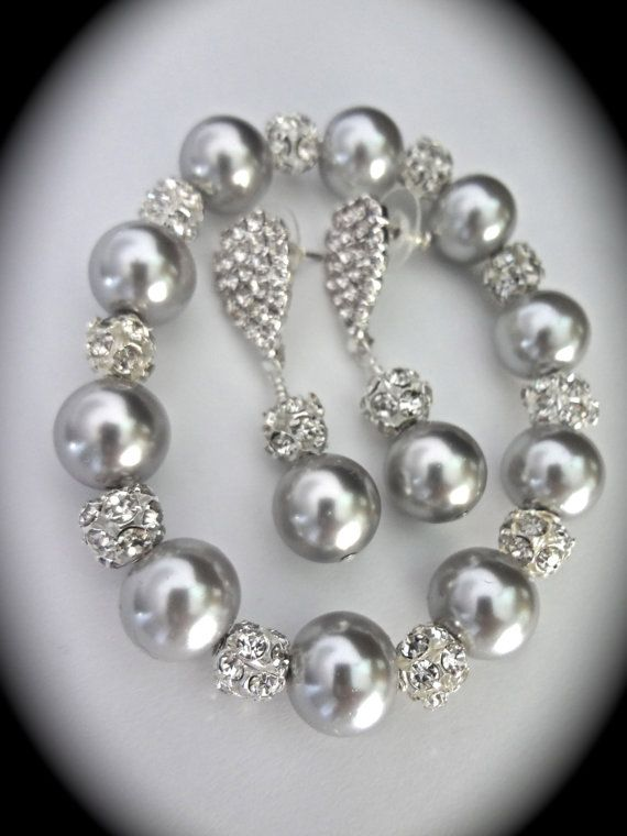 Gray pearl set ~ Chunky Bracelet and earrings set ~ Swarovski pearls and…