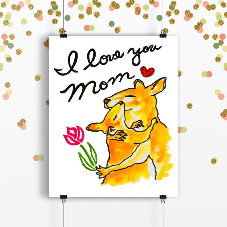 I love you mom (Print),kangaroo print, mother's day print, kangaroo art, kangaroo illustration, animal print, mother's day gift,