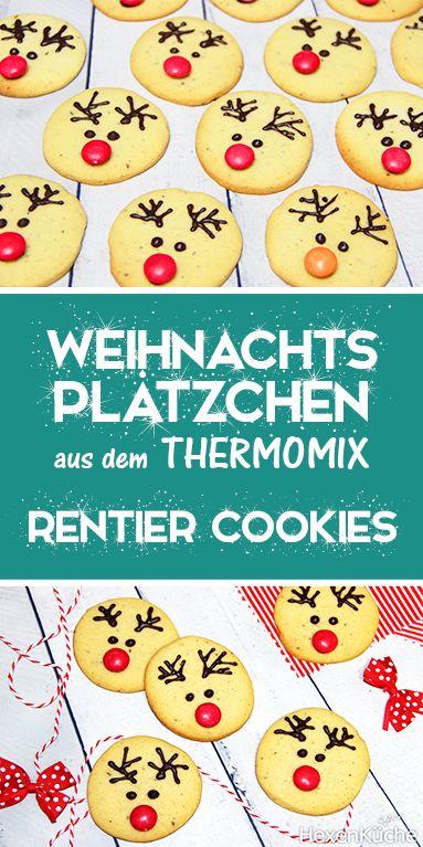 Rentier Cookies – Süße Weihnachtsplätzchen. Thermomix Rezept. Mit Kindern backen.