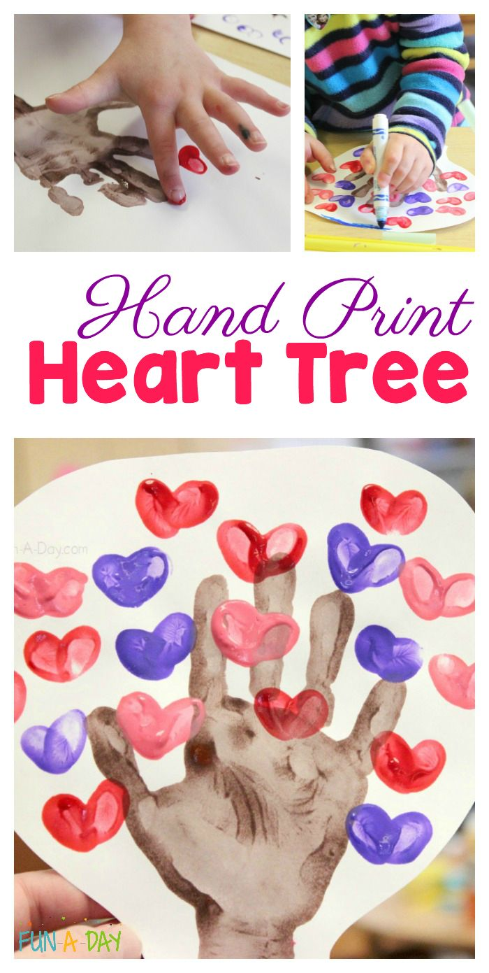 Help the kids make a hand print heart tree - This valentine hand print craft is easy and fun for the kids