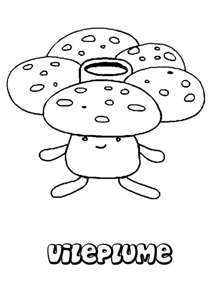 Vileplume Pokemon Coloring Page More Grass Sheets On Hellokids