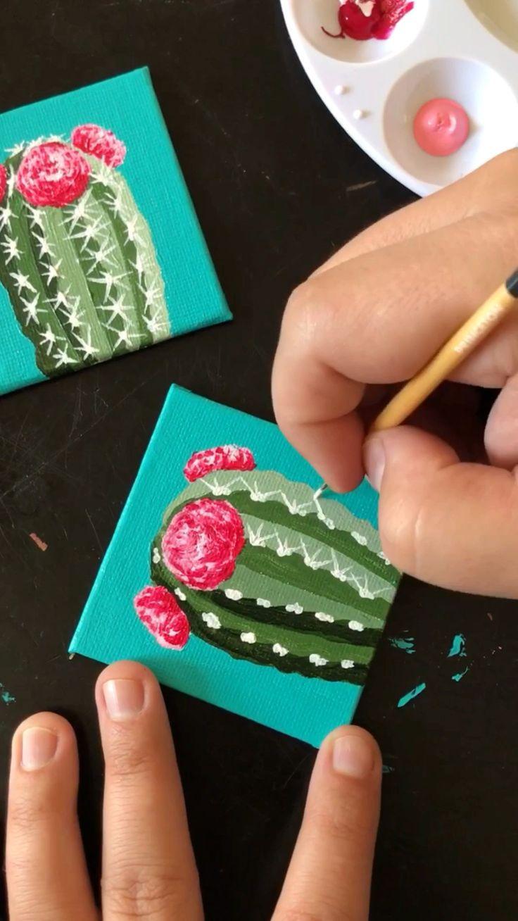 """Malen Sie kleine Kakteen auf 4×4 """"Leinwand mit Acryl von Philip Boelter"""