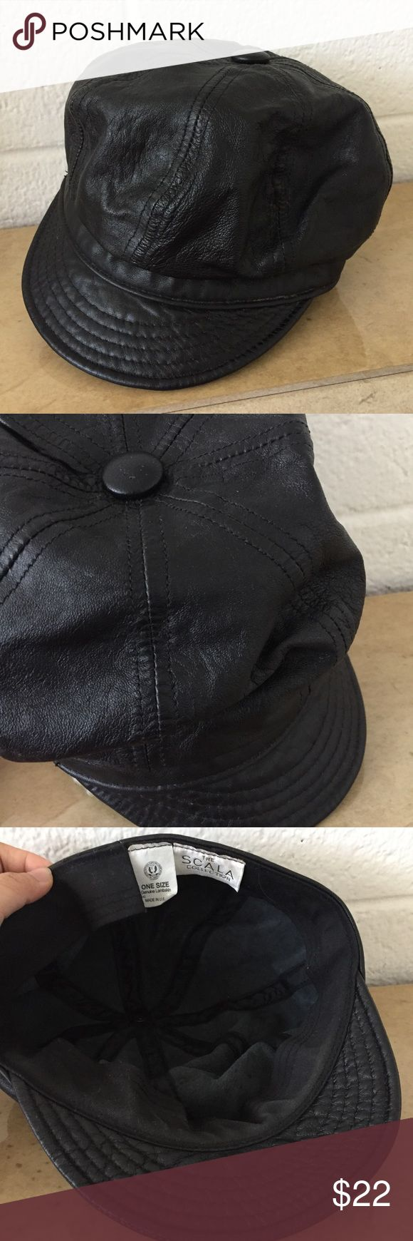 The Scala Collection Vintage Lambskin Cap The Scala Collection Vintage Lambskin Page Boy Cap. Real Lambskin. Made in USA. Vintage Accessories Hats