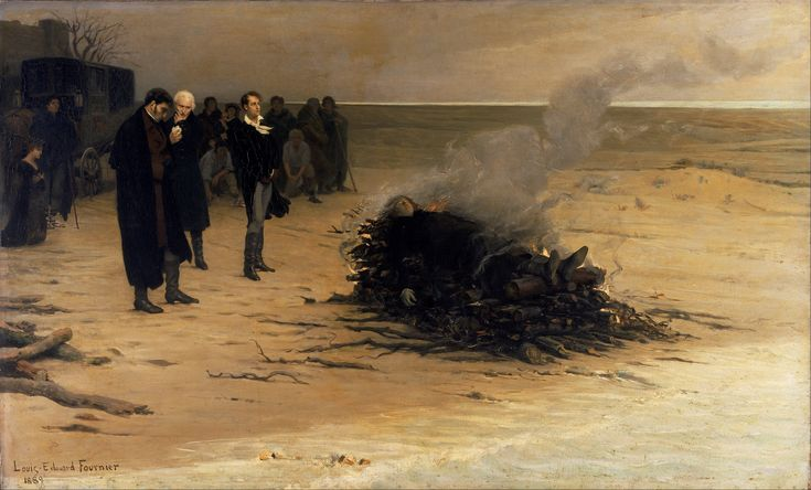 The Funeral #cremation of #Shelley by Louis Édouard #Fournier (1889); on the beach of #Viareggio shows #Trelawny, Leigh Hunt and #LordByron attending. Mary Shelley is kneeling on the left. But in fact Hunt was in his carriage, Byron had gone swimming because of the heat and Mary wasnt there at all.