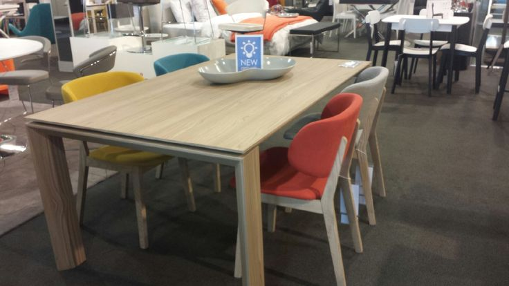 Brand new Calligaris Omnia table in natural wood and the Clare chair in our Voyager Richmond showroom.